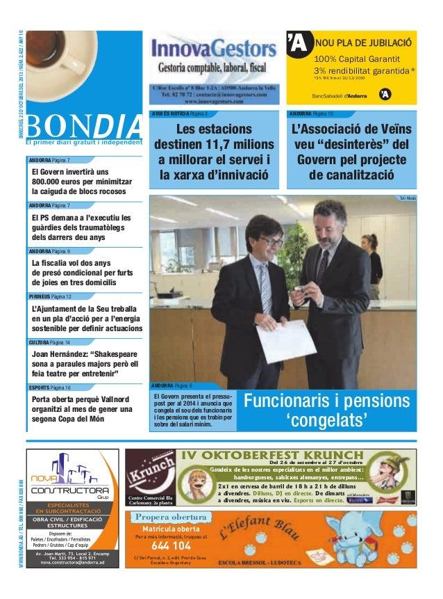 DIMECRES, 23 D'OCTUBRE DEL 2013 / NÚM. 2.422 / ANY 10  NOU PLA DE JUBILACIÓ 100% Capital Garantit 3% rendibilitat garantid...