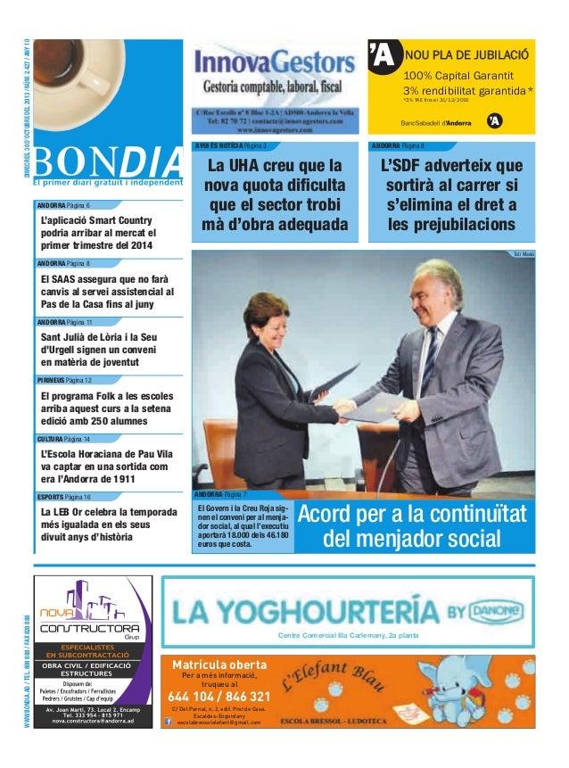 dimecres, 30 d'octubre del 2013 / núm. 2.427 / any 10  NOU PLA DE JUBILACIÓ 100% Capital Garantit 3% rendibilitat garantid...