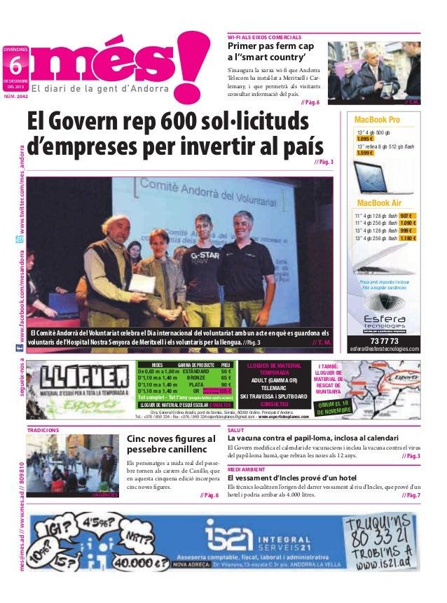 wi-fi aLs Eixos ComErCiaLs  Primer pas ferm cap a l''smart country'  divendres  6  S'inaugura la xarxa wi-fi que Andorra T...