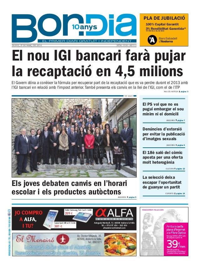 PLA DE JUBILACIÓ 100% Capital Garantit 3% Rendibilitat Garantida* *3% TAE fins el 31/12/2016 WWW.BONDIA.AD/TEL.808888/FAX8...