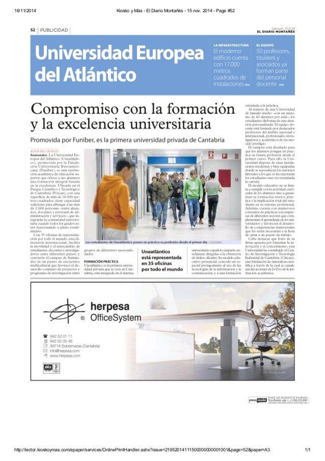 16/11/2014 Kiosko y Más - El Diario Montañés - 15 nov. 2014 - Page #52  http://lector.kioskoymas.com/epaper/services/Onlin...