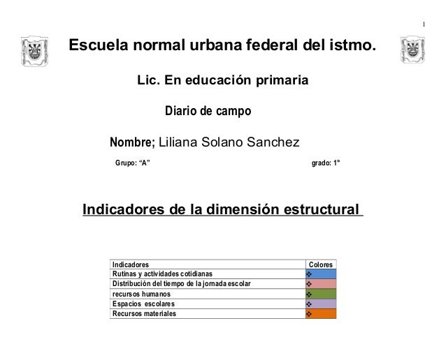 1  Escuela normal urbana federal del istmo. Lic. En educación primaria Diario de campo Nombre; Liliana Solano Sanchez Grup...