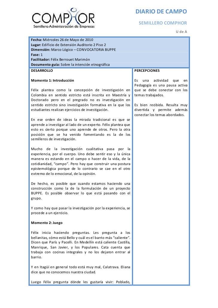 DIARIO DE CAMPO                                                                     SEMILLERO COMPHOR                     ...