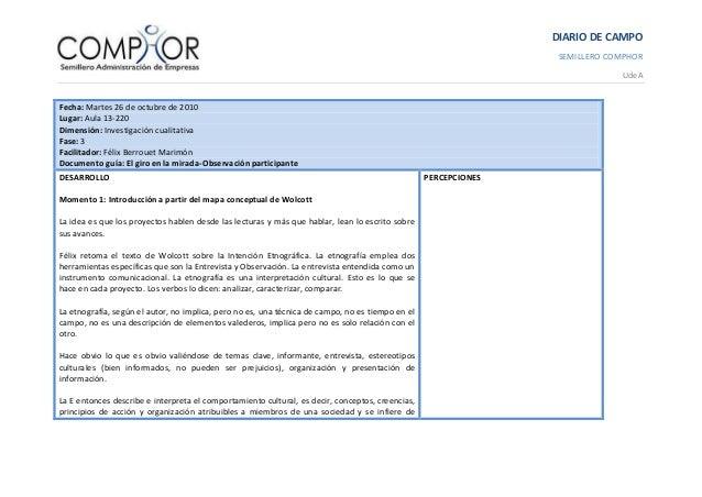 DIARIO DE CAMPO SEMILLERO COMPHOR UdeA Fecha: Martes 26 de octubre de 2010 Lugar: Aula 13-220 Dimensión: Investigación cua...
