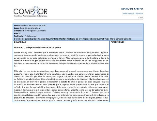 DIARIO DE CAMPO SEMILLERO COMPHOR UdeA Fecha: Martes 5 de octubre de 2010 Lugar: Casa de Jenni Samboní Dimensión: Investig...