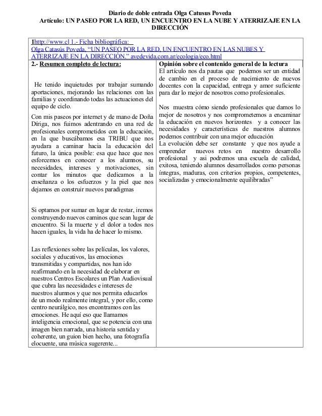 Diario de doble entrada Olga Catusus Poveda  Artículo: UN PASEO POR LA RED, UN ENCUENTRO EN LA NUBE Y ATERRIZAJE EN LA  DI...