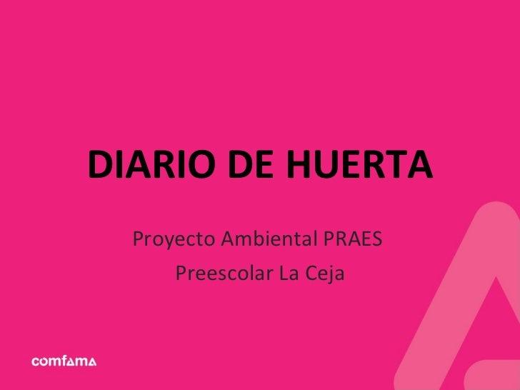 DIARIO DE HUERTA Proyecto Ambiental PRAES  Preescolar La Ceja