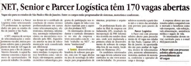 Diário de Marília/SP | NET, Senior e Parcer Logística têm 170 vagas abertas
