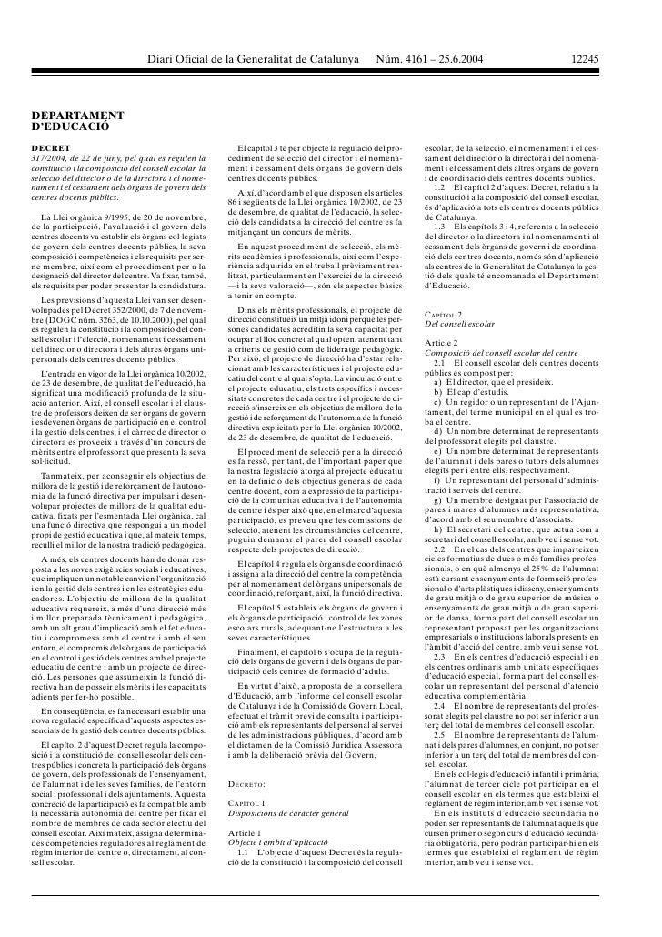 Diari oficial de la generalitat de catalunya nœm. 4161