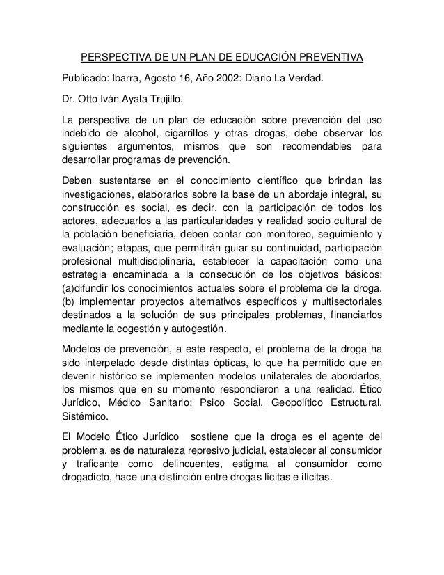 Diariolaverdad2014 perspectivadeunplandeeducaciónpreventiva