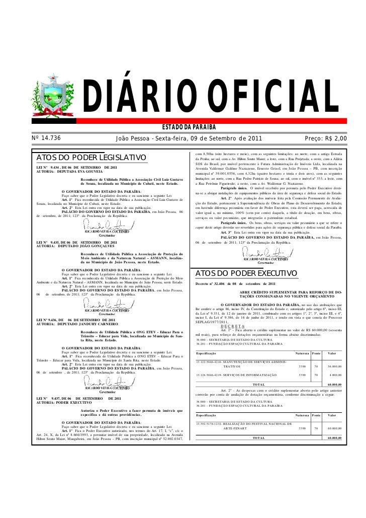 DIÁRIO OFICIAL                                        ESTADO DA PARAÍBANº 14.736                                          ...