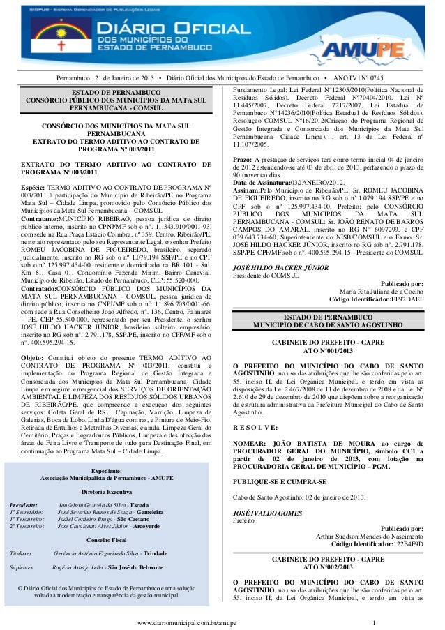 Pernambuco , 21 de Janeiro de 2013 • Diário Oficial dos Municípios do Estado de Pernambuco • ANO IV | Nº 0745             ...