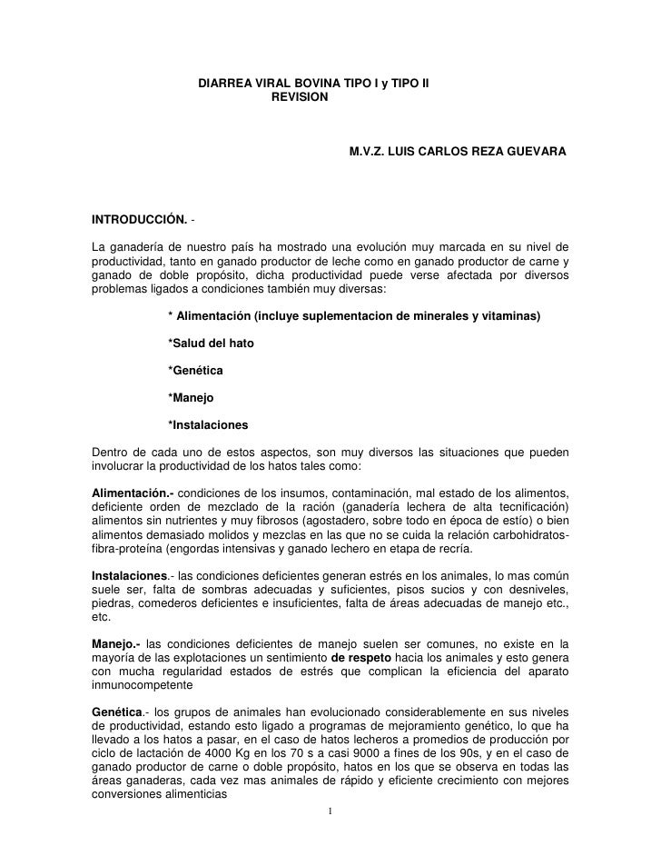 Diarrea Viral Bovina Tipoi Y Tipo Ii Revision Junio 2009