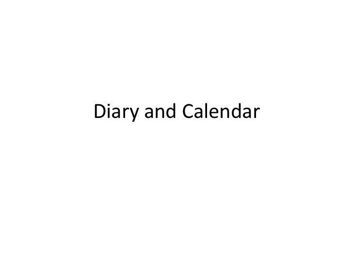 Diary and calendar