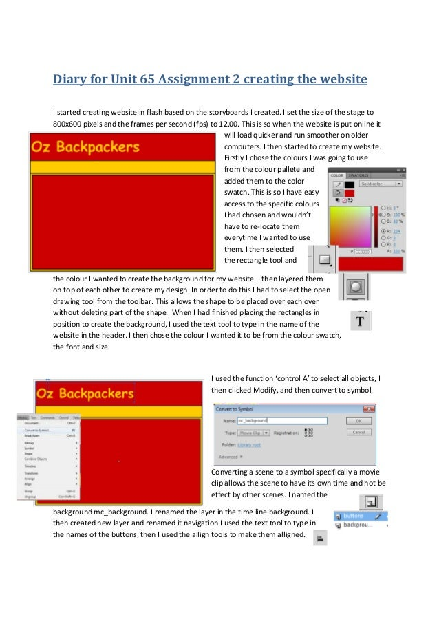 Diary for Unit 65 Assignment 2 creating the websiteI started creating website in flash based on the storyboards I created....