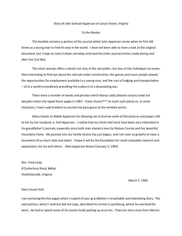 Diary of john samuel apperson of locust grove