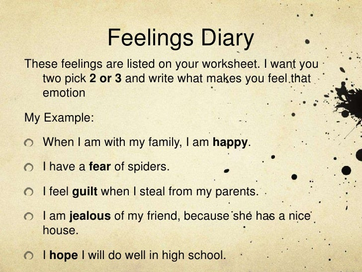feeling and diary entry