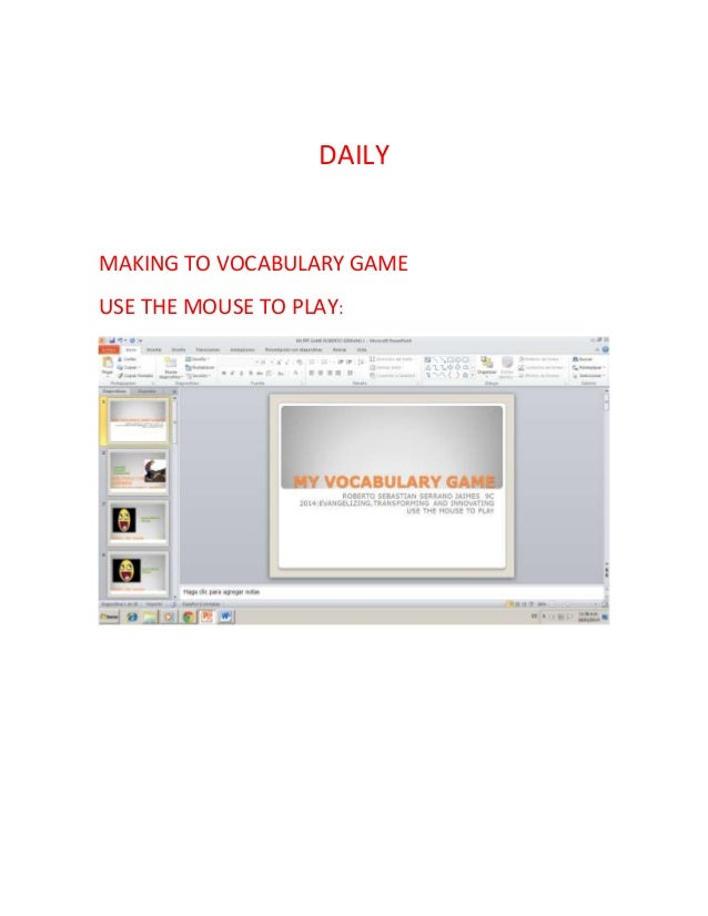 DAILY  MAKING TO VOCABULARY GAME USE THE MOUSE TO PLAY: