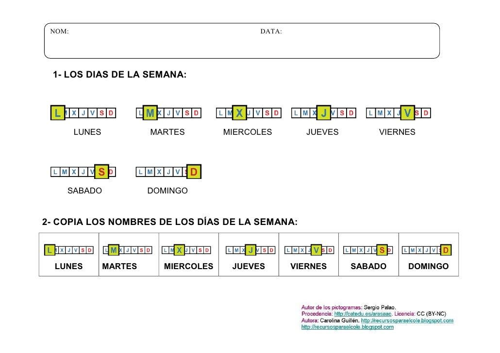 NOM:                                        DATA: 1- LOS DIAS DE LA SEMANA:        LUNES            MARTES        MIERCOLE...