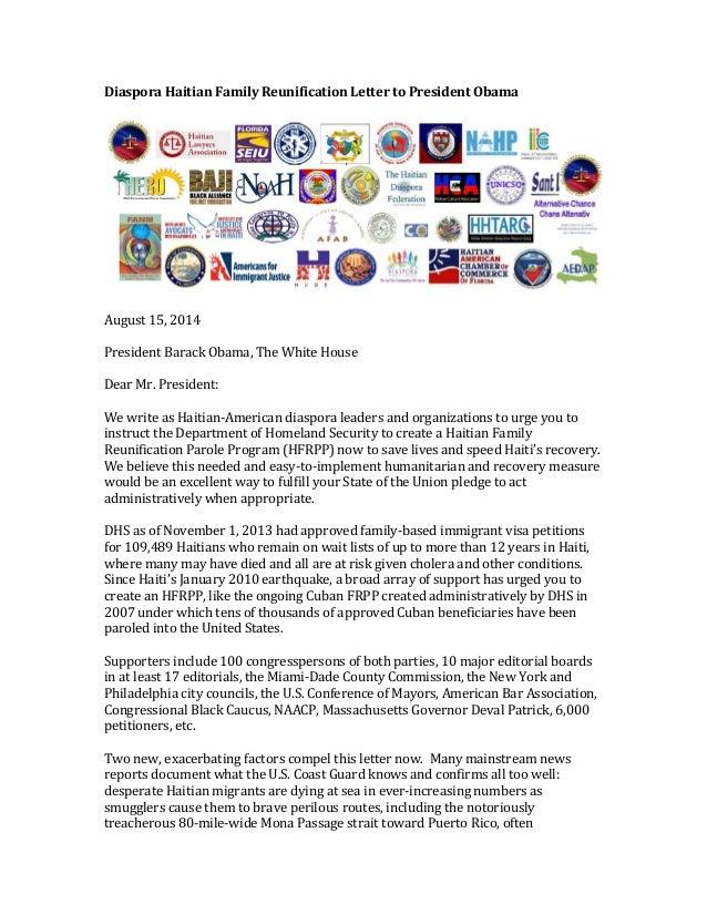 Diaspora  Haitian  Family  Reunification  Letter  to  President  Obama              August  15,...
