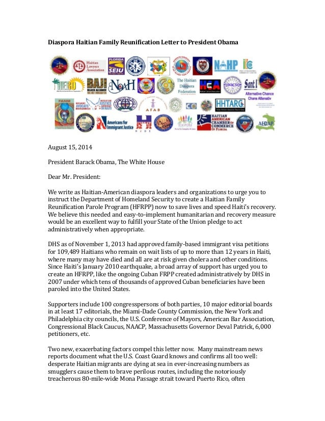 73 Haitian American Diaspora Groups and Leaders Urge President Obama to Create a Haitian Family Reunification Parole Program