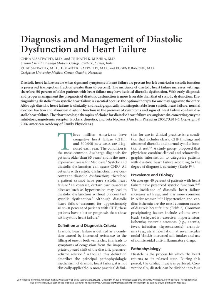 Diagnosis and Management of Diastolic   Dysfunction and Heart Failure   CHHABI SATPATHY, M.D., and TRINATH K. MISHRA, M.D....