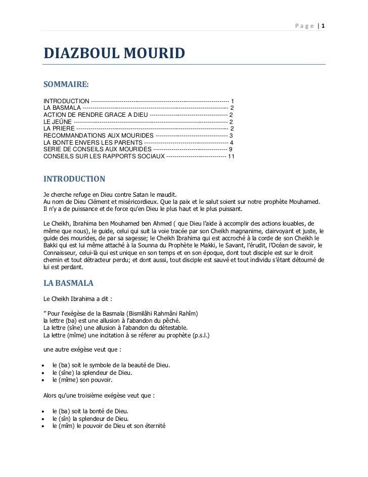 Page |1DIAZBOUL MOURIDSOMMAIRE:INTRODUCTION --------------------------------------------------------------------- 1LA BASM...
