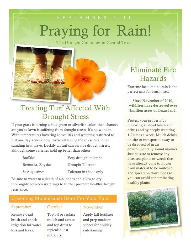 S E P T E M B E R                        2 0 1 1                  Praying for Rain!                             The Drough...
