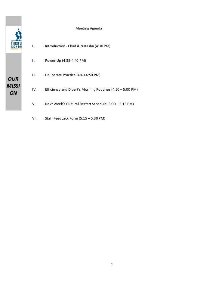 Meeting Agenda        I.     Introduction - Chad & Natasha (4:30 PM)        II.    Power-Up (4:35-4:40 PM)        III.   D...