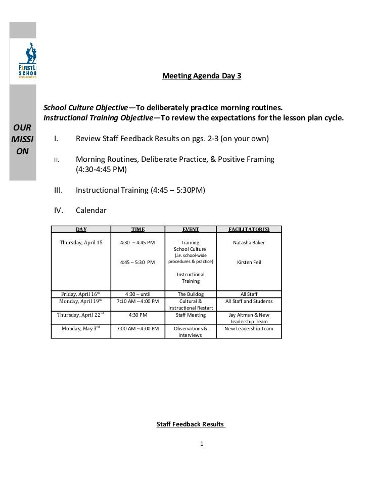 Meeting Agenda Day 3        School Culture Objective—To deliberately practice morning routines.        Instructional Train...