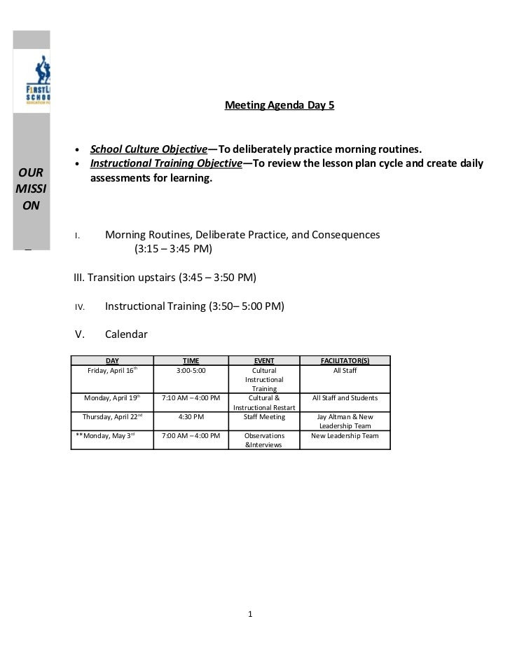 Meeting Agenda Day 5        •      School Culture Objective—To deliberately practice morning routines.        •      Instr...