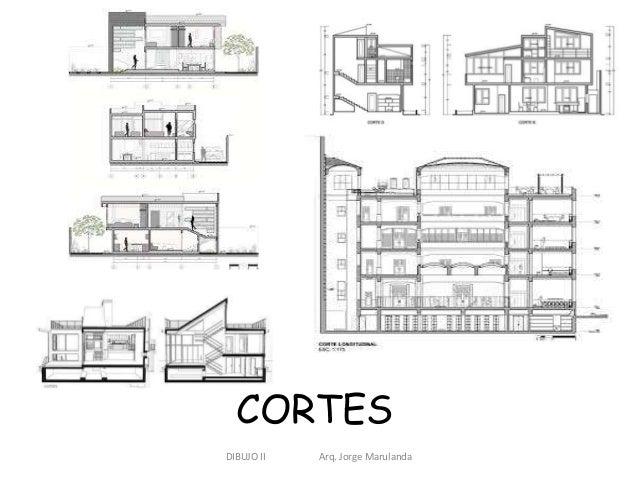 Dibujo de plantas fachadas y cortes for Niveles en planos arquitectonicos