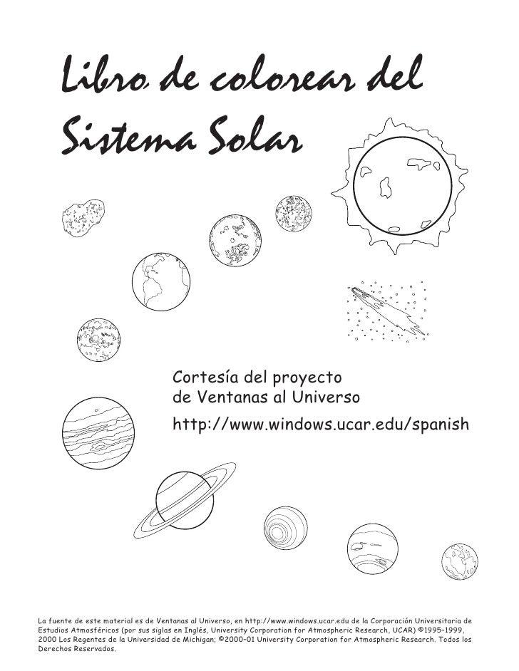 Libro de colorear del      Sistema Solar                                     Cortesía del proyecto                        ...