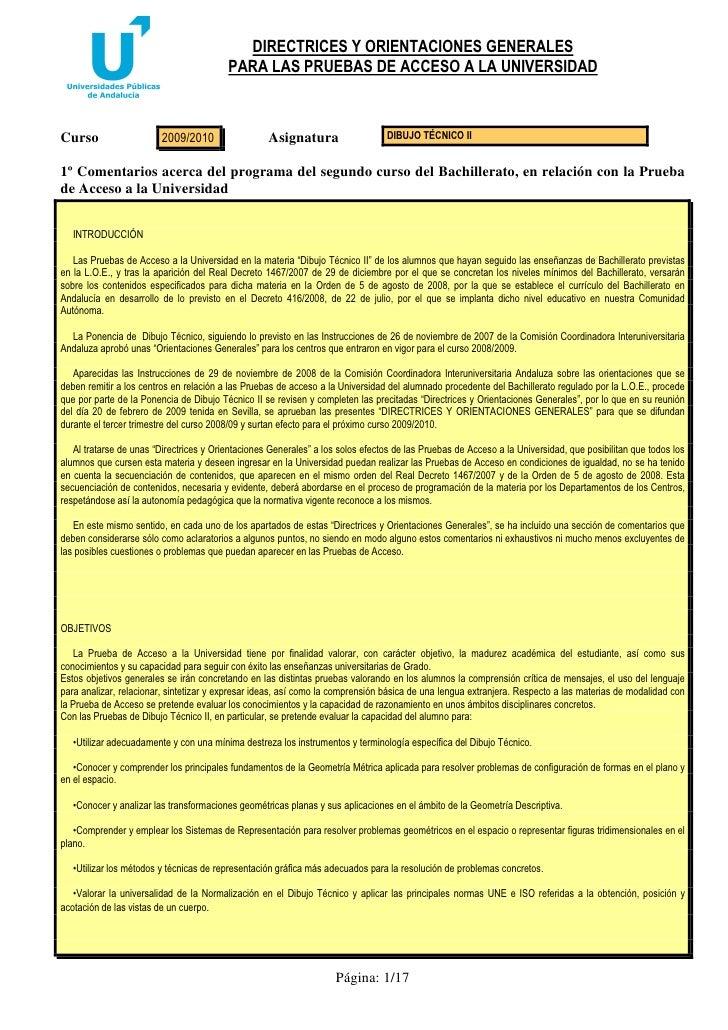 DIRECTRICES Y ORIENTACIONES GENERALES                                          PARA LAS PRUEBAS DE ACCESO A LA UNIVERSIDAD...
