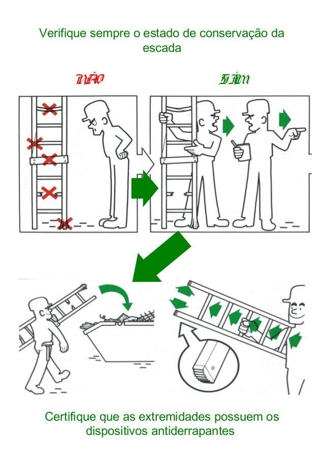 Verifique sempre o estado de conservação da escada SÍMNÃO Certifique que as extremidades possuem os dispositivos antiderra...