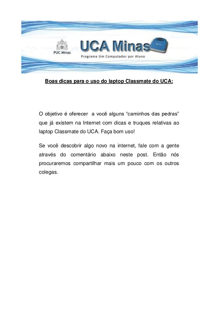 Dicas na formacao uca