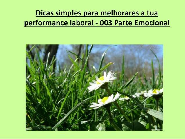 Dicas simples para melhorares a tua  performance laboral - 003 Parte Emocional