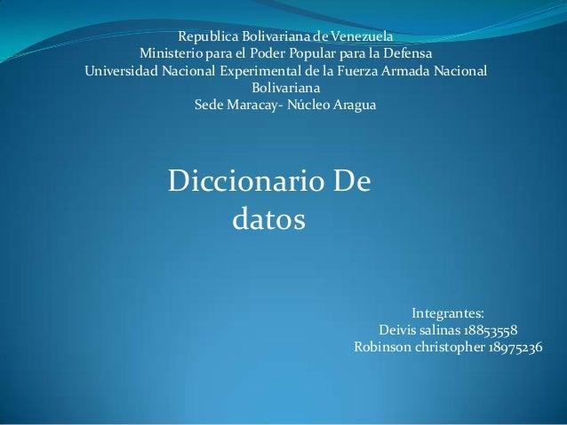Republica Bolivariana de VenezuelaMinisterio para el Poder Popular para la DefensaUniversidad Nacional Experimental de la ...