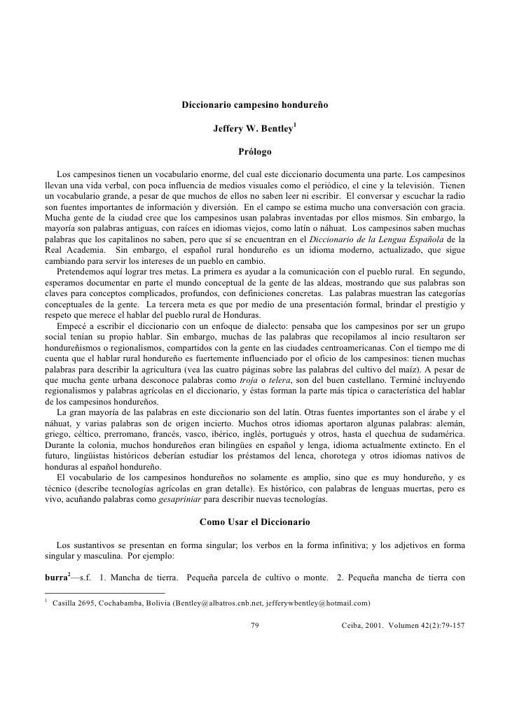 Diccionario campesino hondureño                                                  Jeffery W. Bentley1                      ...