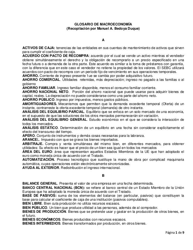 GLOSARIO DE MACROECONOMÍA                            (Recopilación por Manuel A. Bedoya Duque)                            ...