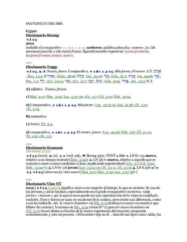 MULTILEXICO G 3501-3600. G3501 Diccionario Strong νέος néos incluído el comparativo νεώτερος neóteros; palabra primaria; «...