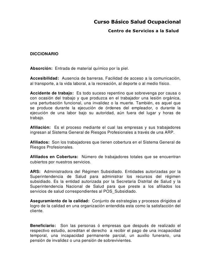 Curso Básico Salud Ocupacional                                          Centro de Servicios a la Salud     DICCIONARIO   A...