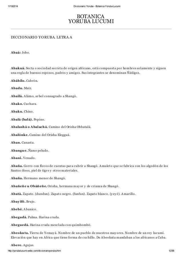 Diccionario yoruba   botanica yoruba lucumi
