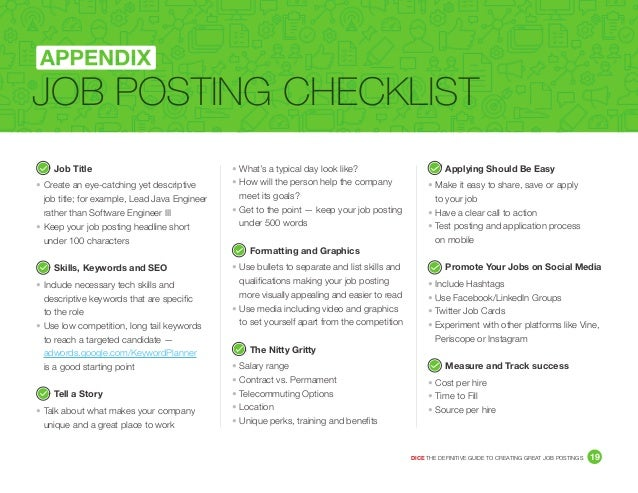 The Definitive Guide To Creating Great Postings