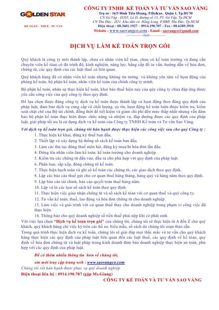 CÔNG TY TNHH KẾ TOÁN VÀ TƯ VẤN SAO VÀNG                                          Trụ sở : 16/5 Đinh Tiên Hòang, P.ĐaKao, Q...