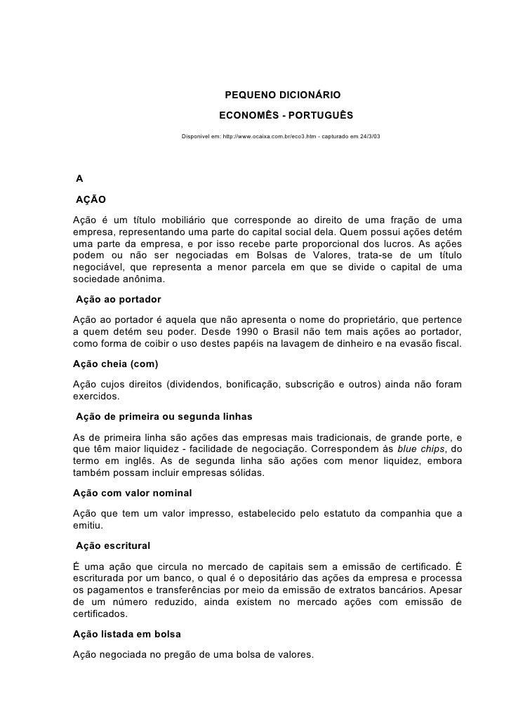 PEQUENO DICIONÁRIO                                      ECONOMÊS - PORTUGUÊS                         Disponivel em: http:/...