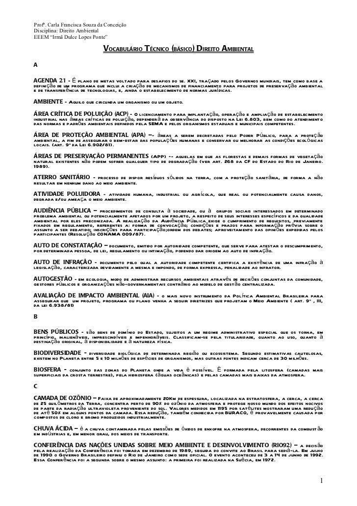 Dicionário ambiental em direito