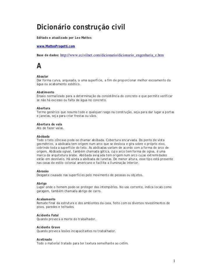 Dicionário construção civil (termos, gírias e tudo mais usado no canteiro de obras)