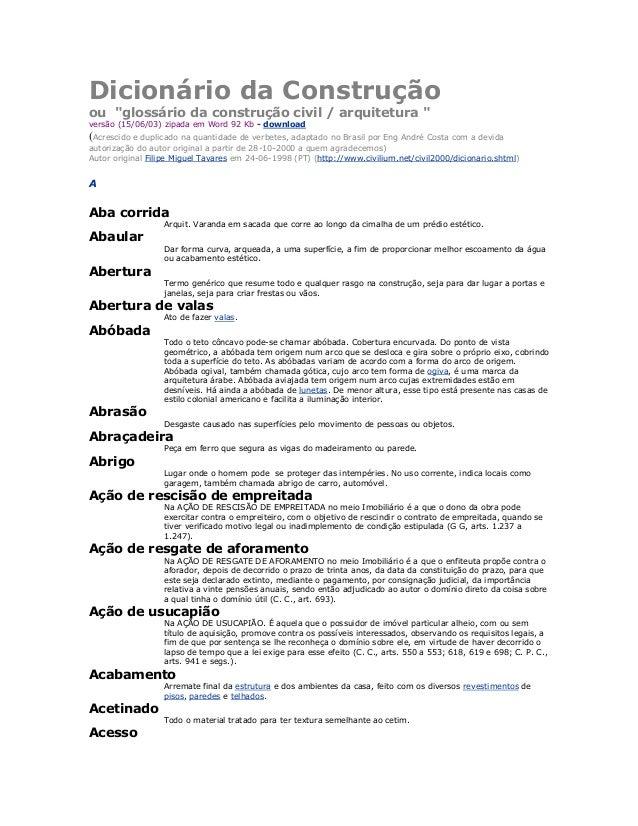"""Dicionário da Construção ou """"glossário da construção civil / arquitetura """" versão (15/06/03) zipada em Word 92 Kb - downlo..."""