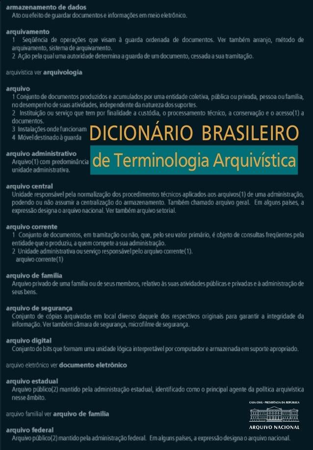DICIONÁRIO BRASILEIRO                                 DICIONÁRIO BRASILEIRO  de Terminologia Arquivística                 ...